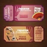 Bandeiras dos bilhetes de teatro ajustadas Fotos de Stock Royalty Free