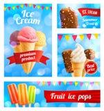 Bandeiras dos cartazes da loja do café do gelado do vetor 3D ilustração do vetor