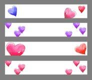 Bandeiras dos corações Fotografia de Stock Royalty Free