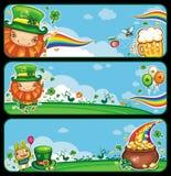 Bandeiras dos desenhos animados do dia do St Patrick Fotos de Stock