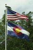 Bandeiras dos E.U. e do Colorado Imagem de Stock