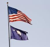 Bandeiras dos E.U. e do South Carolina imagem de stock royalty free