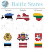Bandeiras dos Estados Bálticos ilustração royalty free