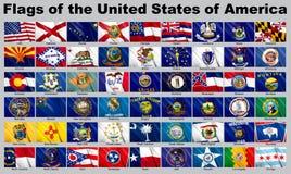 Bandeiras dos EUA com trajeto de grampeamento Fotos de Stock Royalty Free