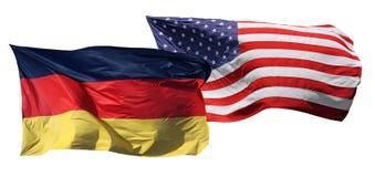 Bandeiras dos EUA e da Alemanha, isoladas Fotografia de Stock Royalty Free