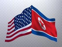 Bandeiras dos EUA e da Coreia do Norte Fotografia de Stock
