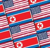 Bandeiras dos EUA e da COREIA DO NORTE ou ilustração da bandeira Imagem de Stock