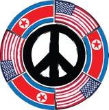 Bandeiras dos EUA e da COREIA DO NORTE ou ilustração da bandeira Foto de Stock Royalty Free