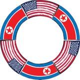 Bandeiras dos EUA e da COREIA DO NORTE ou ilustração da bandeira Fotografia de Stock