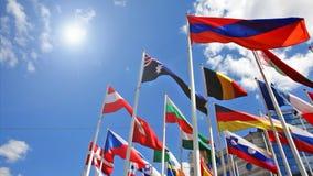 Bandeiras dos países diferentes vídeos de arquivo