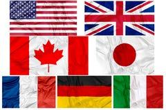 Bandeiras dos países G7 ilustração do vetor
