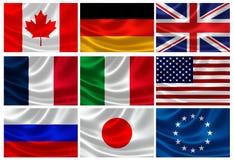 Bandeiras dos países G8 industrializados e da UE Fotografia de Stock