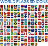 Bandeiras dos países do mundo Fotografia de Stock Royalty Free