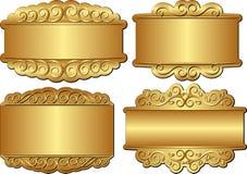 Bandeiras douradas Fotos de Stock Royalty Free