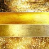 Bandeiras douradas ajustadas Fotografia de Stock Royalty Free