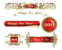 Bandeiras douradas ajustadas do ano novo feliz 2011 Fotos de Stock