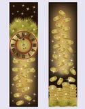 Bandeiras douradas do ano novo e do Feliz Natal Imagem de Stock