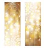 Bandeiras douradas do brilho do vetor Imagem de Stock