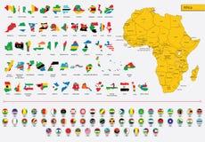 Bandeiras e ícones africanos dos cartões Imagem de Stock Royalty Free
