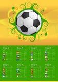 Bandeiras e bola do campeonato 2014 do futebol Imagem de Stock