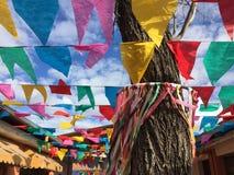 Bandeiras e céu no partido de junho Imagem de Stock Royalty Free