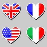 Bandeiras e corações Imagens de Stock