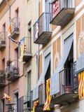 Bandeiras e esteladas Catalan Fotografia de Stock Royalty Free