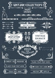 Bandeiras e etiquetas do vintage ilustração stock