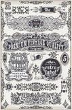 Bandeiras e etiquetas gráficas tiradas mão do vintage Imagem de Stock