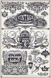 Bandeiras e etiquetas gráficas tiradas mão do vintage Foto de Stock Royalty Free