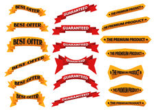 Bandeiras e etiquetas lisas da fita com sombras longas Imagens de Stock Royalty Free