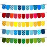 Bandeiras e festões coloridas da estamenha para a decoração ilustração do vetor