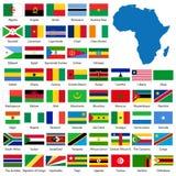 Bandeiras e mapa africanos detalhados Imagens de Stock Royalty Free