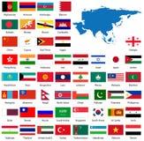Bandeiras e mapa asiáticos detalhados Foto de Stock Royalty Free