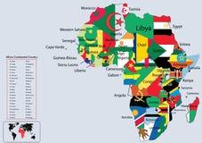 Bandeiras e mapa continentais de país de África ilustração stock
