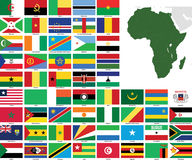 Bandeiras e mapas do vetor de África ilustração stock
