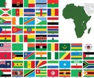 Bandeiras e mapas do vetor de África Fotografia de Stock Royalty Free
