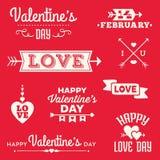 Bandeiras e mensagens tipográficas do dia de Valentim do moderno Fotografia de Stock Royalty Free