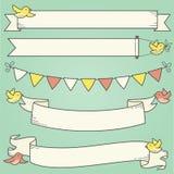 Bandeiras e pássaros horizontais Imagem de Stock Royalty Free