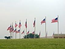Bandeiras em torno de Washington Monument em Washington D C , 2008 Imagens de Stock