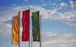 Bandeiras em um fundo do céu Imagem de Stock