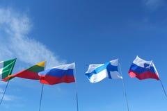Bandeiras em um polo fotos de stock royalty free