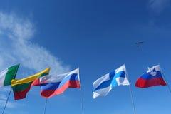 Bandeiras em um polo fotografia de stock royalty free