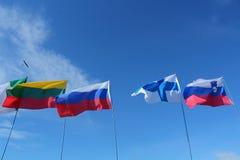 Bandeiras em um polo imagens de stock royalty free