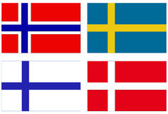 Bandeiras escandinavas Imagem de Stock