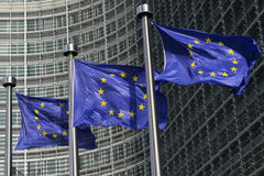 Bandeiras européias em Bruxelas Fotos de Stock Royalty Free