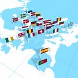 Bandeiras européias no mapa Imagem de Stock
