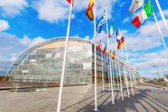 Bandeiras europeias no platô de Kirchberg na cidade de Luxemburgo Imagem de Stock Royalty Free