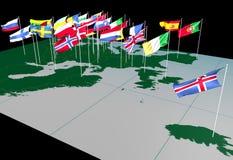 Bandeiras européias no mapa (vista norte) Fotos de Stock Royalty Free