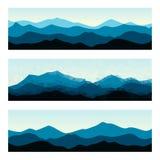 Bandeiras exteriores com cumes da montanha Fundos horizontais da natureza ajustados Imagem de Stock